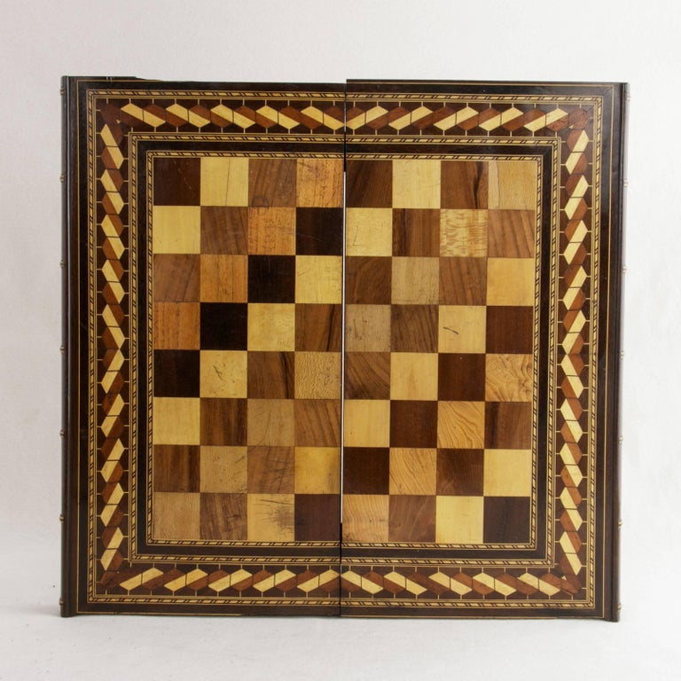 Hinged Marquetry Game Box for Chess, Checkers, Backgammon, Stacked Books Form For Sale 1