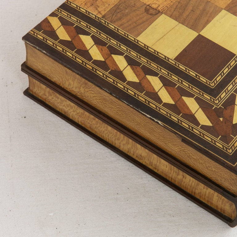 Hinged Marquetry Game Box for Chess, Checkers, Backgammon, Stacked Books Form For Sale 3