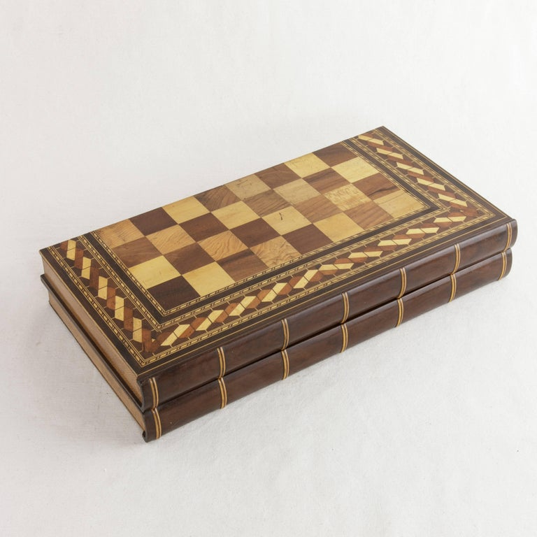 French Hinged Marquetry Game Box for Chess, Checkers, Backgammon, Stacked Books Form For Sale