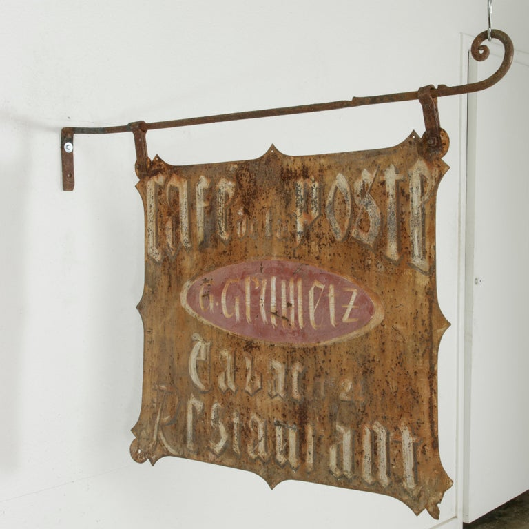 Large Early 20th Century French Double Sided Painted Iron Cafe Sign with Bracket In Good Condition For Sale In Fayetteville, AR