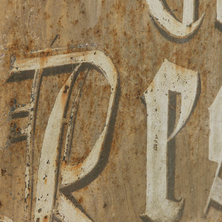 Large Early 20th Century French Double Sided Painted Iron Cafe Sign with Bracket For Sale 2
