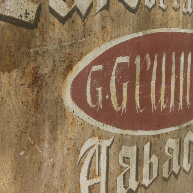 Large Early 20th Century French Double Sided Painted Iron Cafe Sign with Bracket For Sale 3