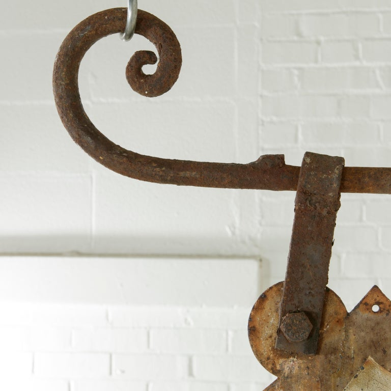 Large Early 20th Century French Double Sided Painted Iron Cafe Sign with Bracket For Sale 5