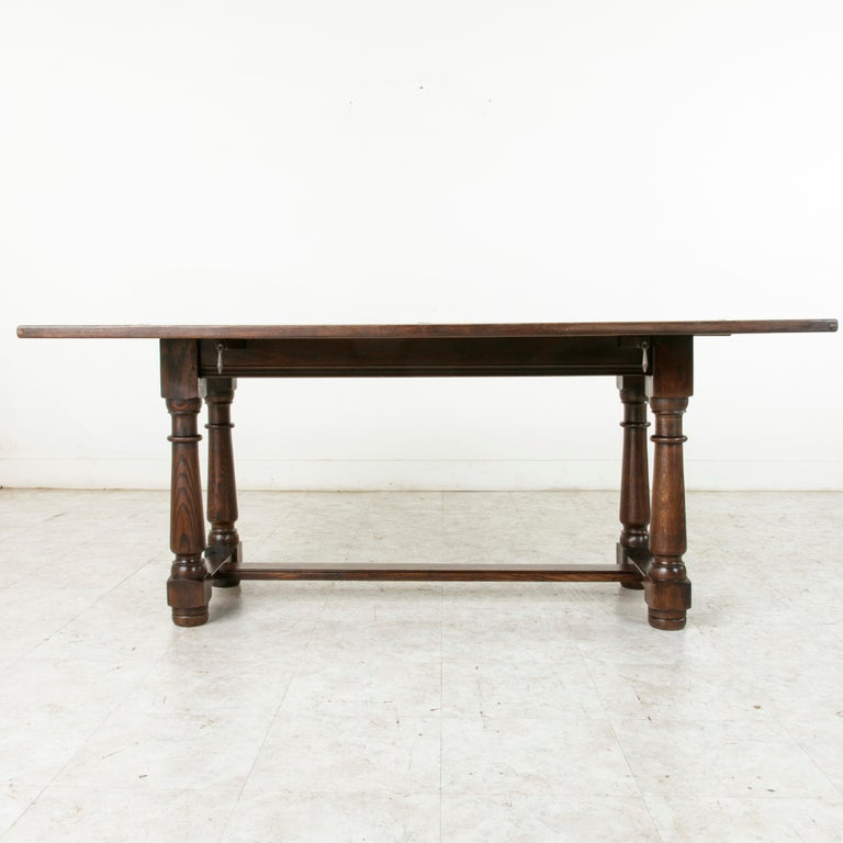 French Oak Hunt Folding Table Console Sofa With Iron Hinges In Excellent Condition