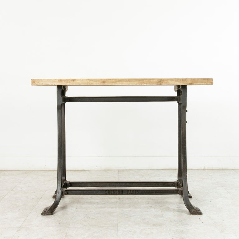 Midcentury French Industrial Console, Work Table, Kitchen Island, Iron Base In Good Condition For Sale In Fayetteville, AR