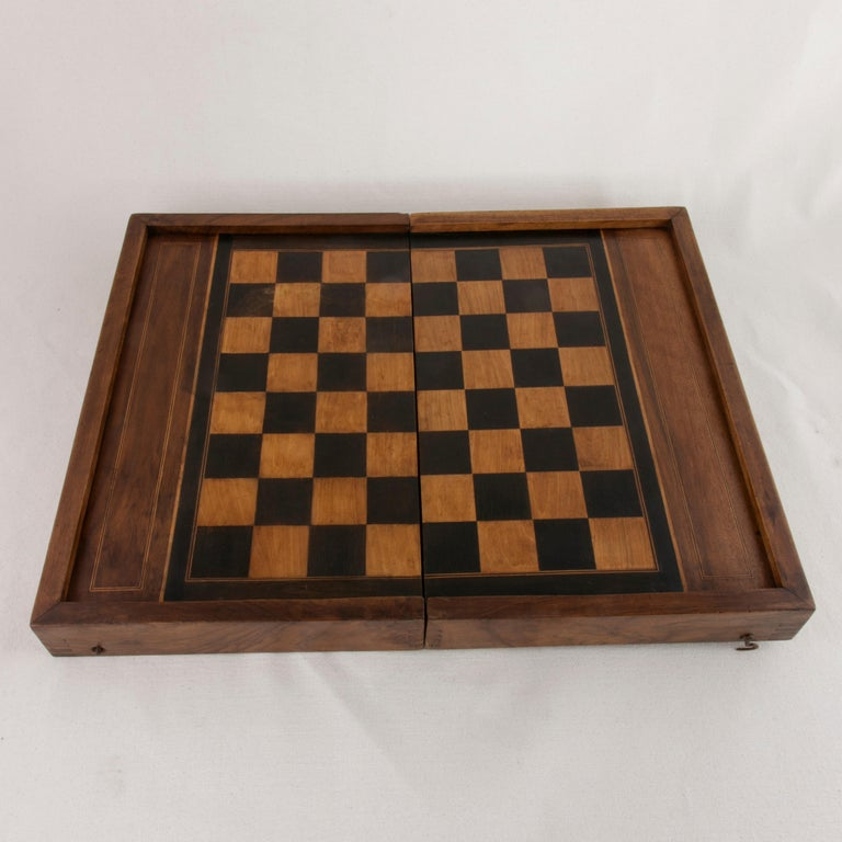 Ebonized French Walnut and Pear Wood Marquetry Backgammon & Checkers Game Box, circa 1900 For Sale