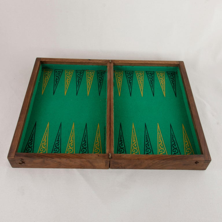 Early 20th Century French Walnut and Pear Wood Marquetry Backgammon & Checkers Game Box, circa 1900 For Sale
