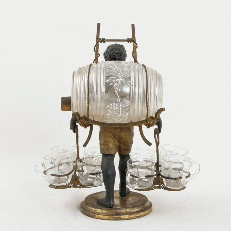 19th Century French Napoleon III Period Blackamoor Liqueur Caddy with 8 Glasses In Good Condition For Sale In Fayetteville, AR