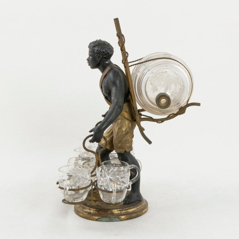 Mid-19th Century 19th Century French Napoleon III Period Blackamoor Liqueur Caddy with 8 Glasses For Sale