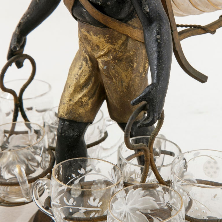 19th Century French Napoleon III Period Blackamoor Liqueur Caddy with 8 Glasses For Sale 3