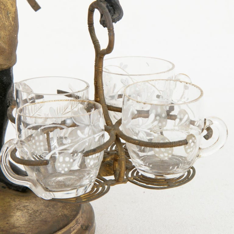 19th Century French Napoleon III Period Blackamoor Liqueur Caddy with 8 Glasses For Sale 4