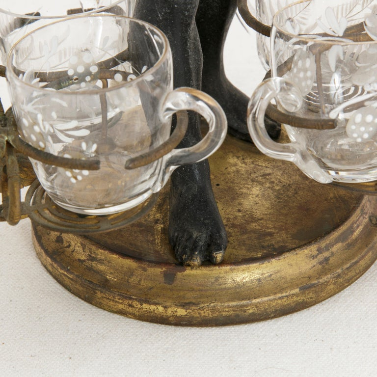 19th Century French Napoleon III Period Blackamoor Liqueur Caddy with 8 Glasses For Sale 5