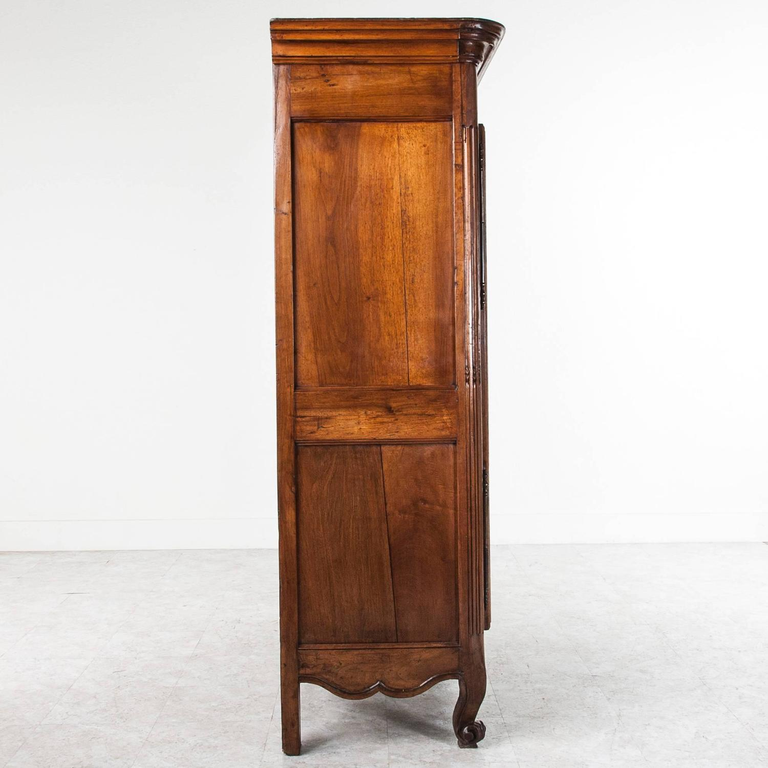 period louis xv armoire of hand carved walnut rare petite. Black Bedroom Furniture Sets. Home Design Ideas