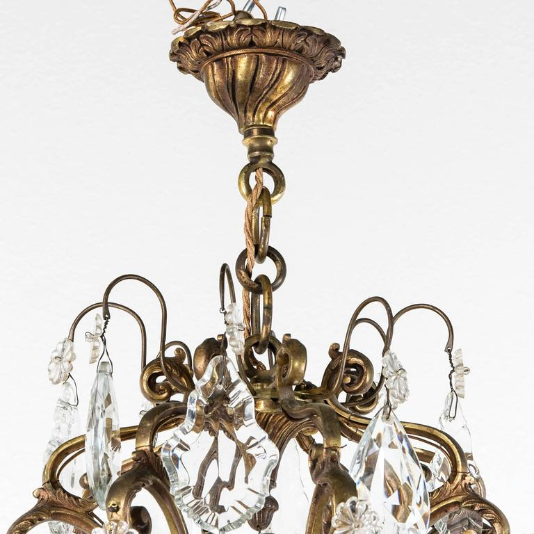 Large mid century french crystal and bronze chandelier with eight louis xv large mid century french crystal and bronze chandelier with eight lights for sale audiocablefo