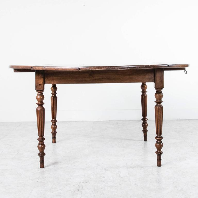 Period Louis Philippe Solid Walnut Round Dining Table With Turned Fluted  Legs 3