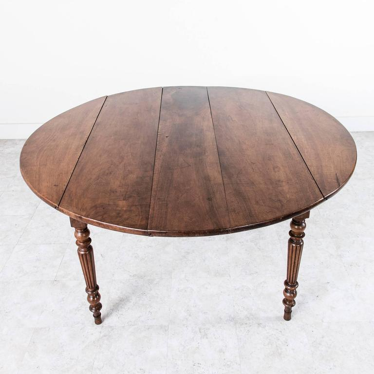 Period Louis Philippe Solid Walnut Round Dining Table With