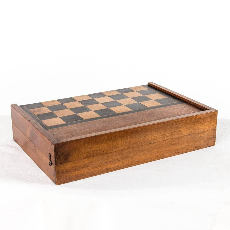 Antique French Parquetry Game Board Box For Checkers, Chess, Or Backgammon 2