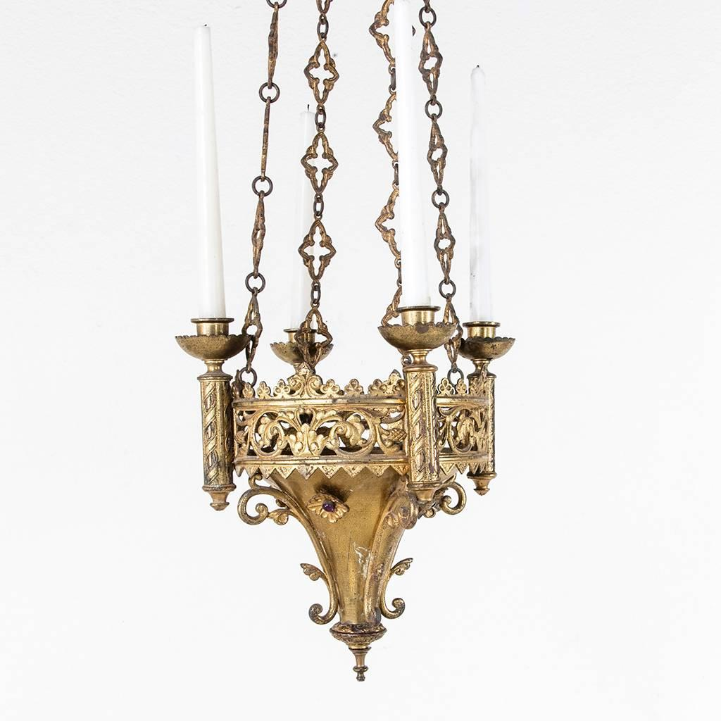 french gothic style bronze chandelier pendant for four