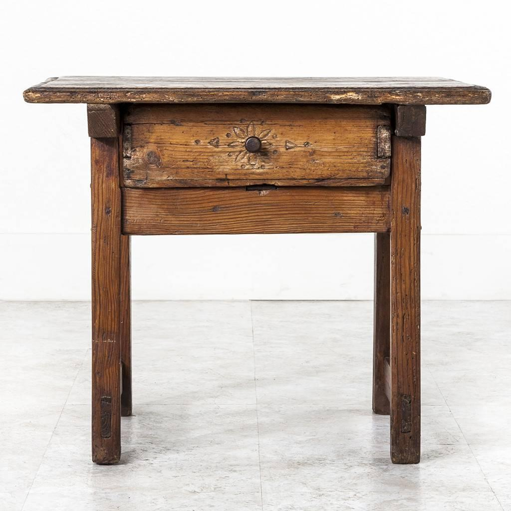 19th century french rustic primitive style pine side table
