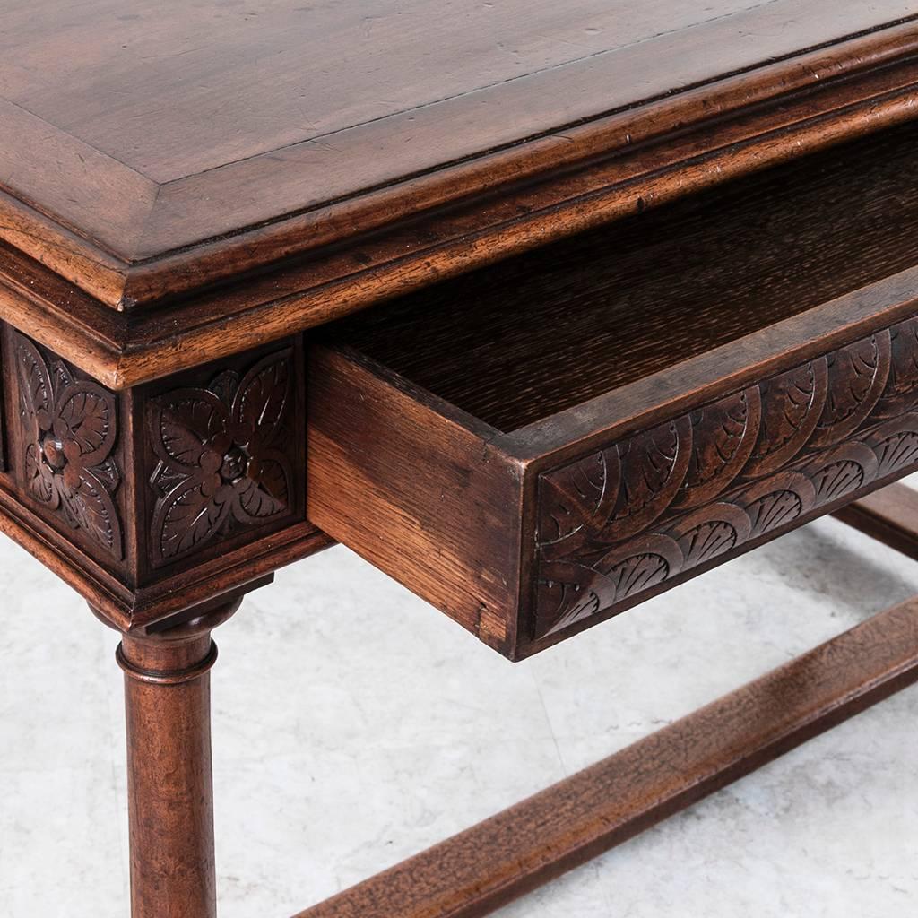 Th century french hand carved walnut henri ii desk sofa