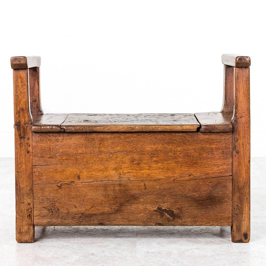 19th Century French Rustic Oak Salt Box Bench With