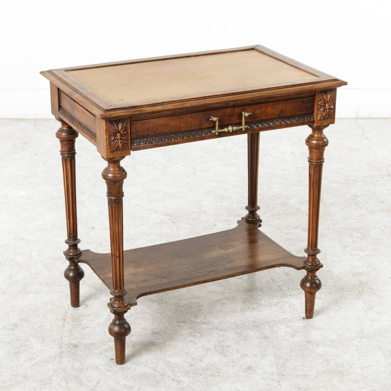 henri ii 19th century french side table or desk with tooled leather and drawer at 1stdibs. Black Bedroom Furniture Sets. Home Design Ideas