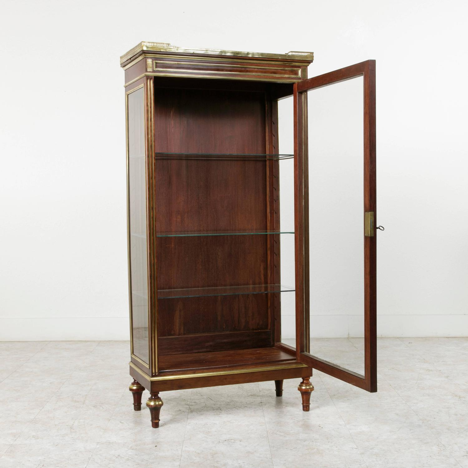 French Louis XVI Mahogany Vitrine Cabinet With Bronze Banding And Marble For Sale At 1stdibs