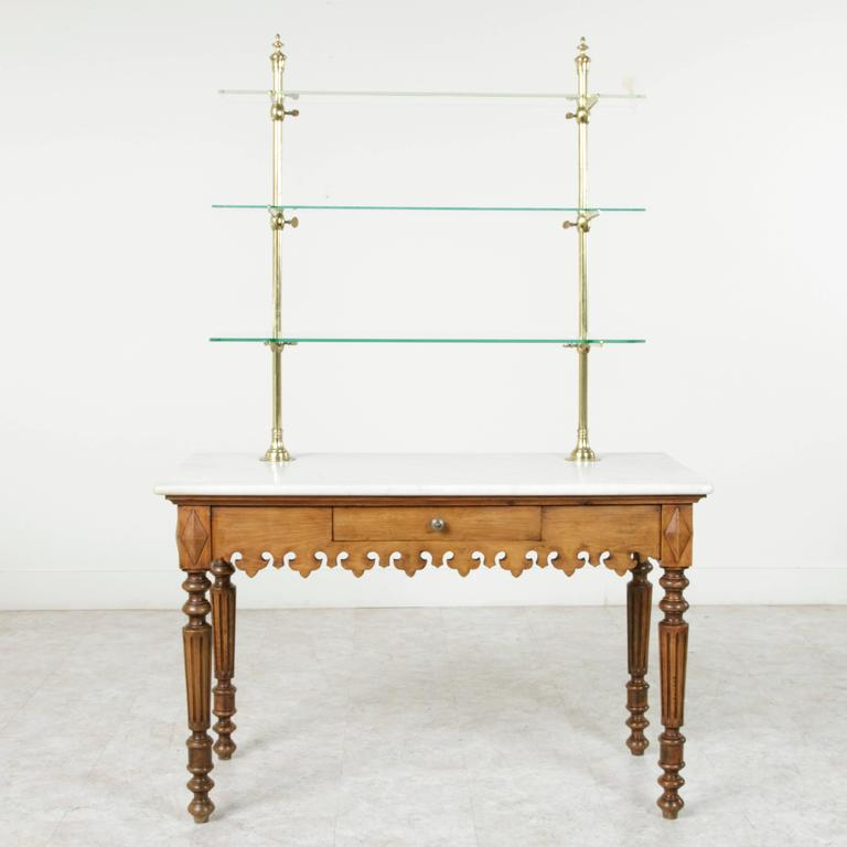 Antique Marble Top Pastry Table With Bronze Display Shelves From Paris Shop  2