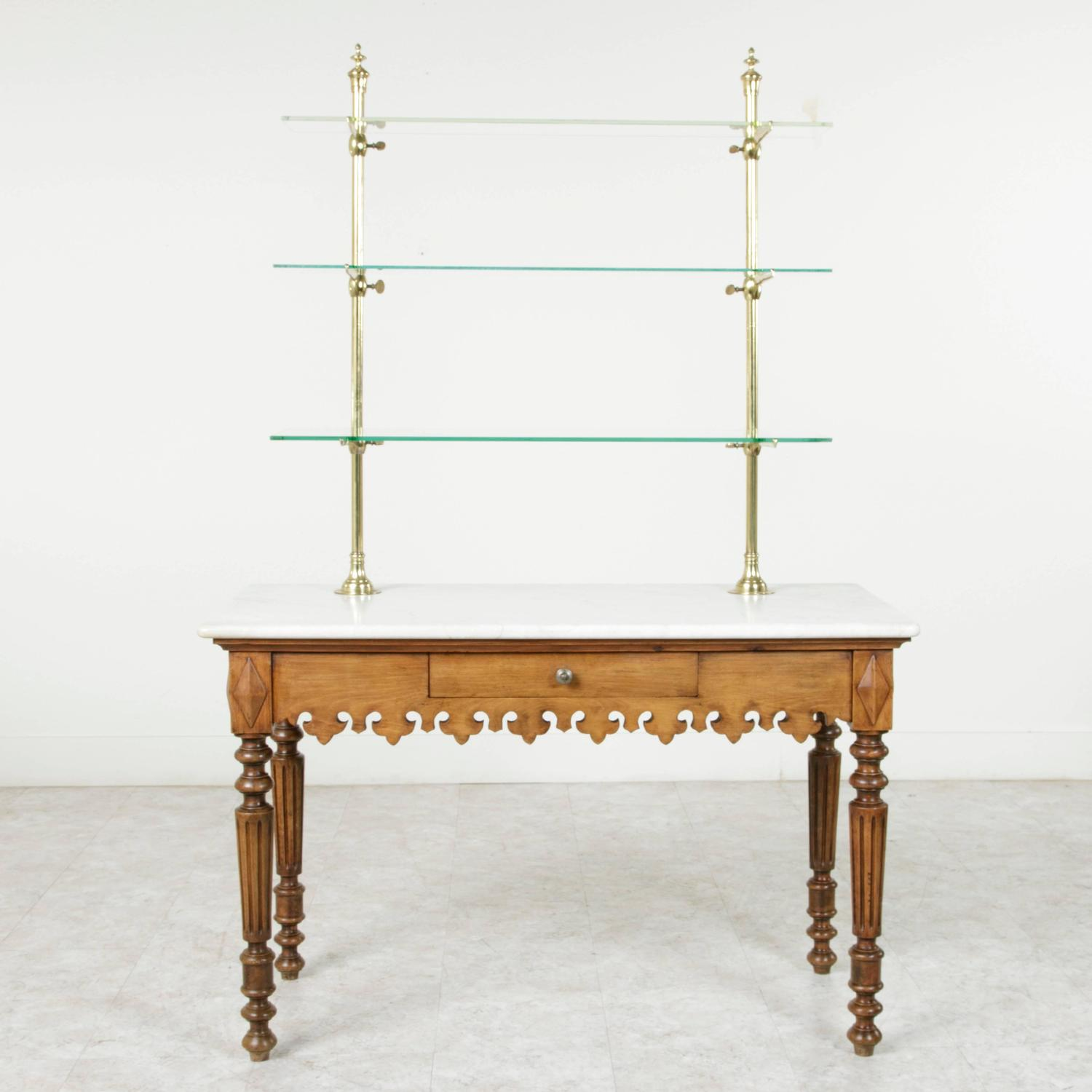 Antique Marble Top Pastry Table With Bronze Display