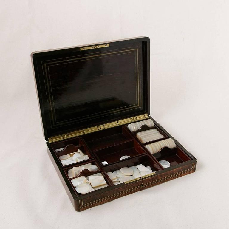 Rare Signed Paul Sormani Marquetry Game Box with Mother-of-Pearl Gambling Chips  In Excellent Condition For Sale In Fayetteville, AR