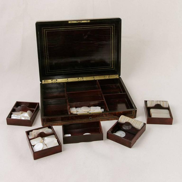 French Rare Signed Paul Sormani Marquetry Game Box with Mother-of-Pearl Gambling Chips  For Sale