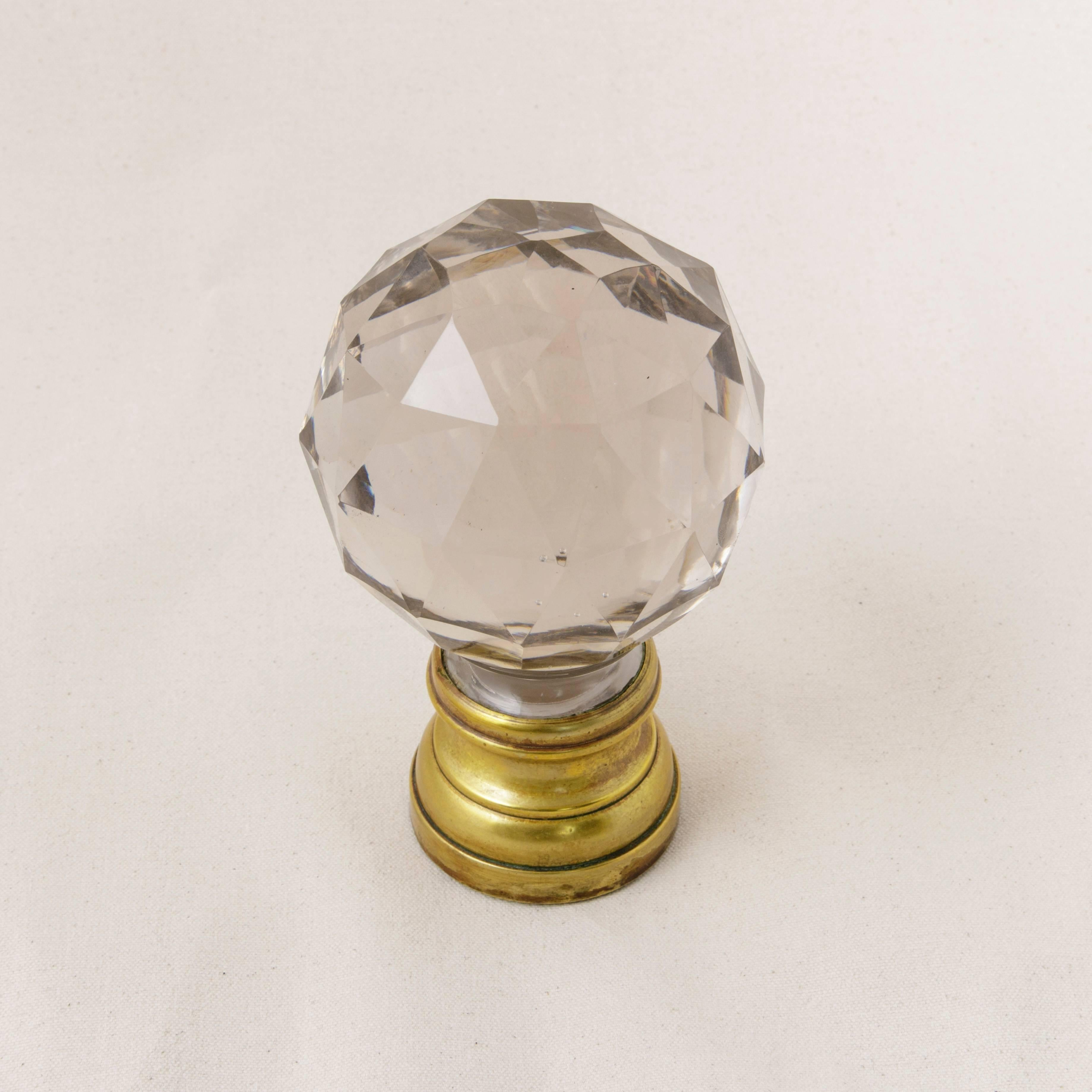 Antique French Baccarat Faceted Crystal Staircase Finial Ball At 1stdibs