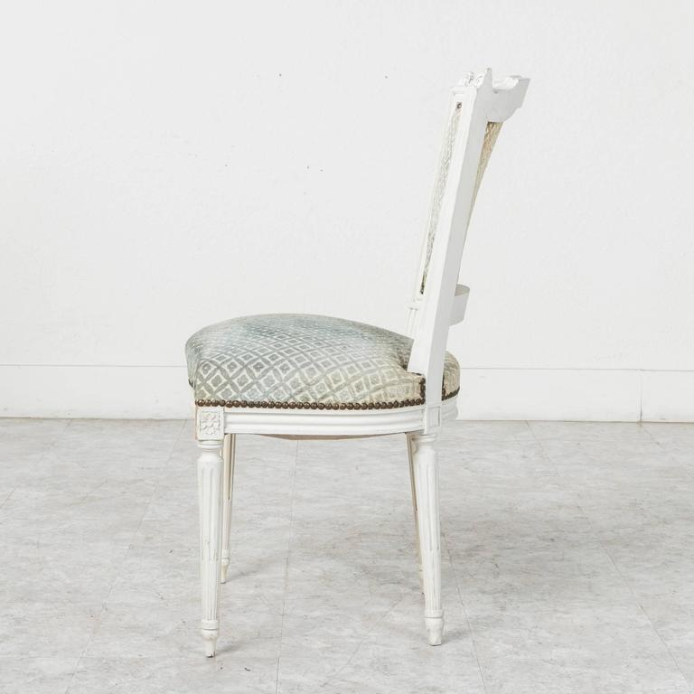 Set of Louis XVI Style Dining Chairs Painted White with Nailhead Upholstery For Sale 1