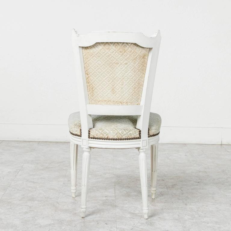 Set of Louis XVI Style Dining Chairs Painted White with Nailhead Upholstery For Sale 3