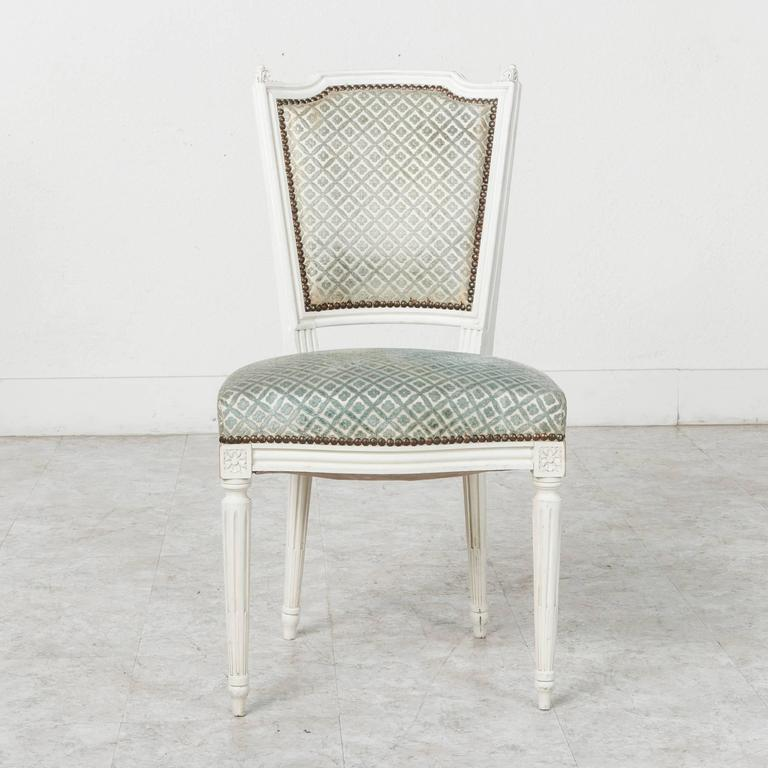 Set of Louis XVI Style Dining Chairs Painted White with Nailhead Upholstery For Sale 2