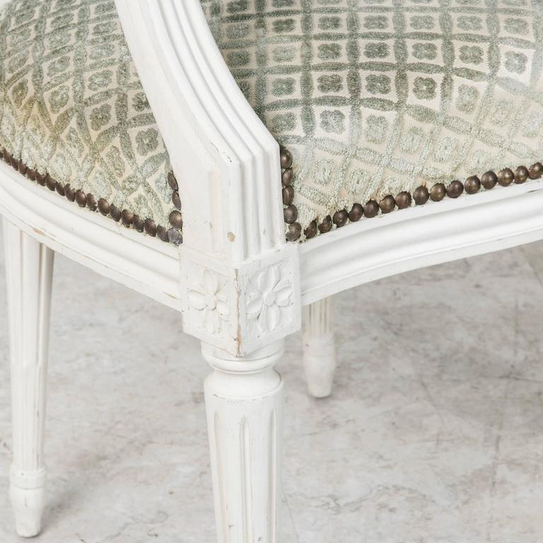 Set of Louis XVI Style Dining Chairs Painted White with Nailhead Upholstery For Sale 4