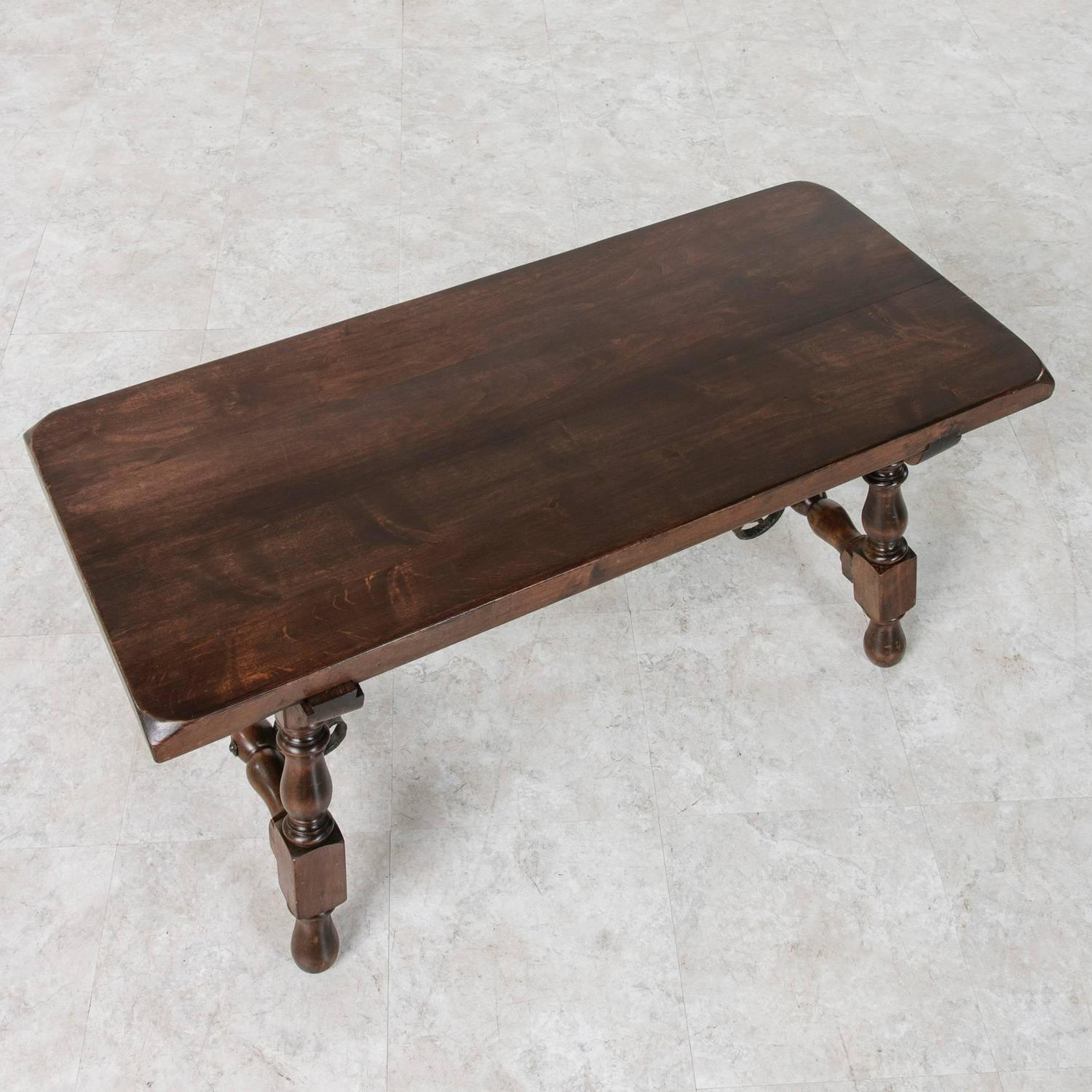 Vintage Spanish Style Glass Top Turned Wood Coffee Table Chairish