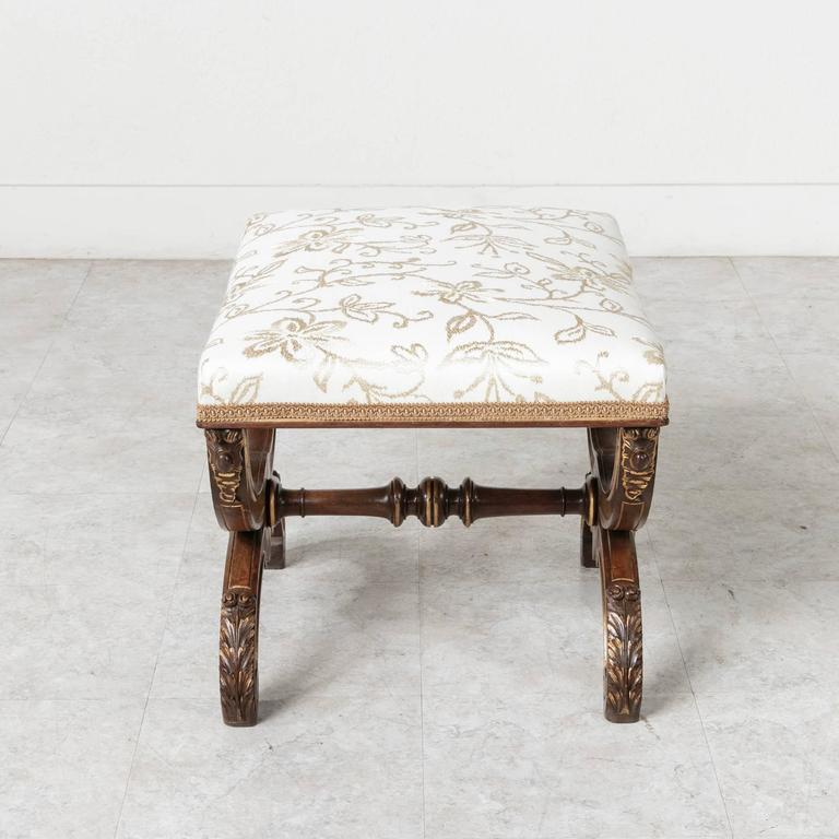 19th Century Napoleon III Gold Detailed Walnut Banquette Bench ... on