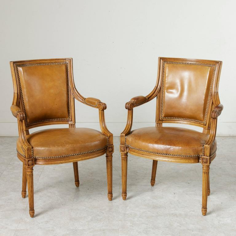 Mid Century Pair Of Louis Xvi Style Beechwood Armchairs