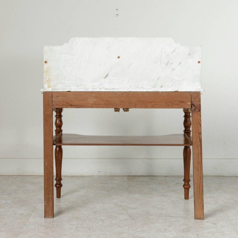 French Pitch Pine Vanity Table Work Table With Carrara