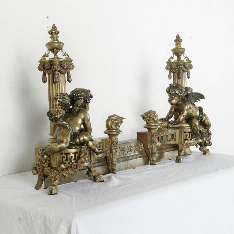 Exceptional Early 19th Century French Bronze Fireplace Fender and Putti Andirons 3