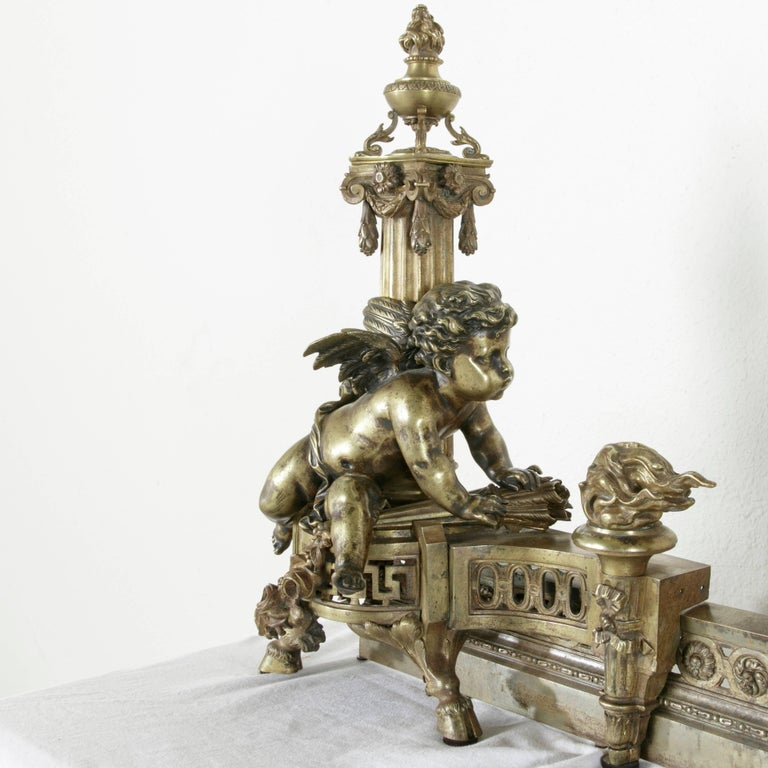 Exceptional Early 19th Century French Bronze Fireplace Fender and Putti Andirons 7