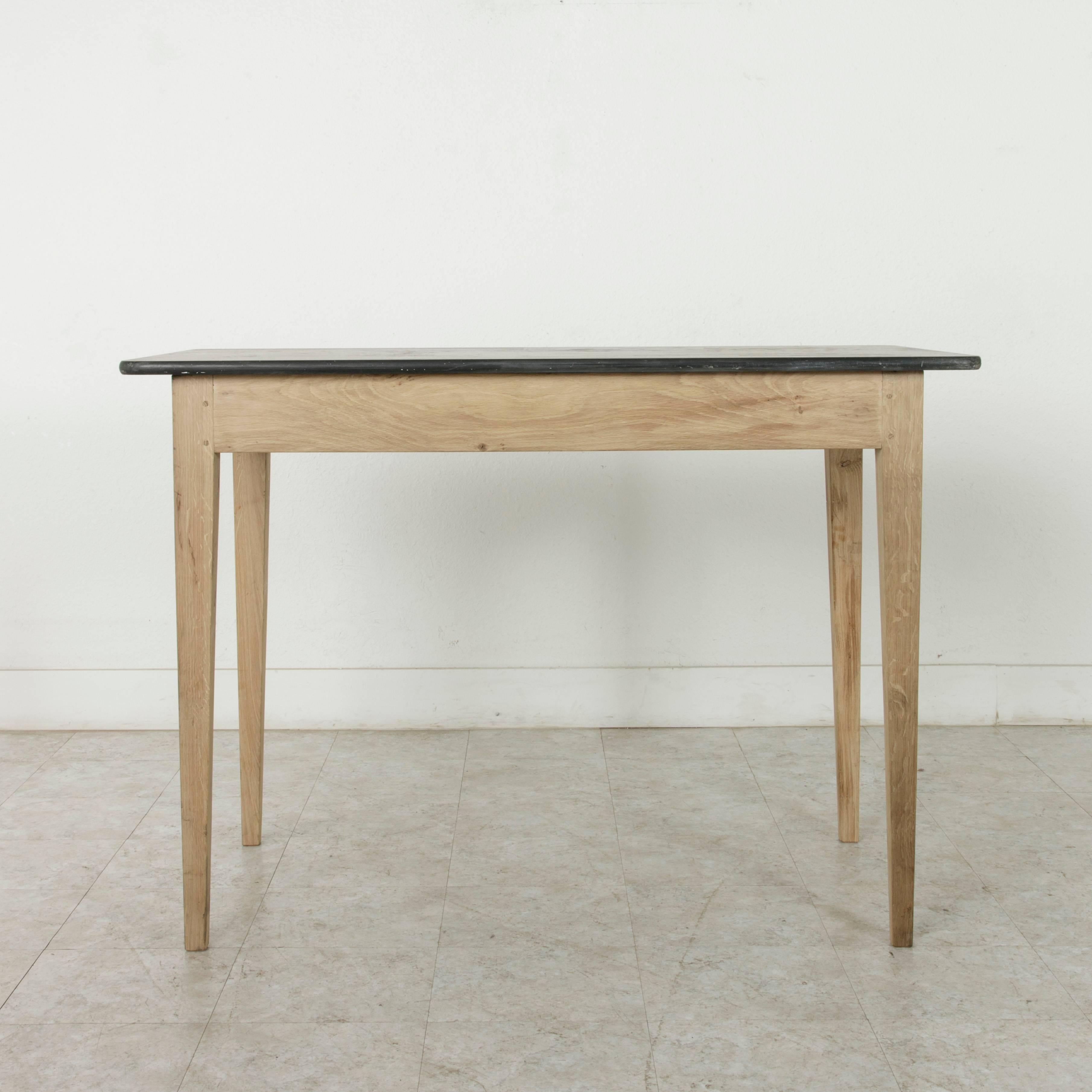 High French Oak Pastry Table Or Kitchen Island With Antique Slate Top