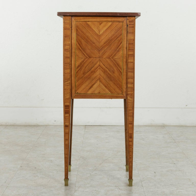 18th Century French Louis XVI Period Rosewood Marquetry Nightstand or Side Table For Sale 1