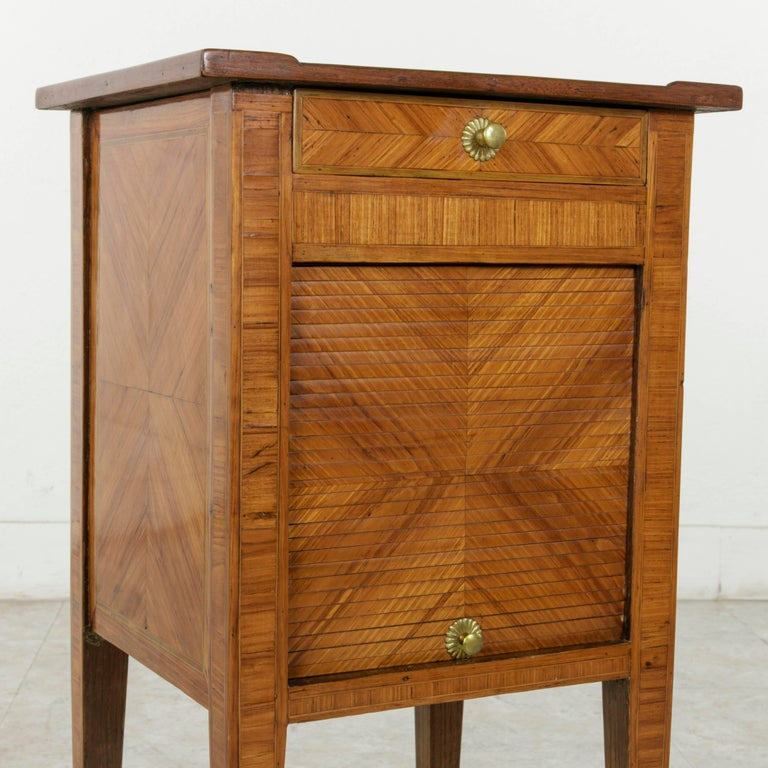 18th Century French Louis XVI Period Rosewood Marquetry Nightstand or Side Table For Sale 3