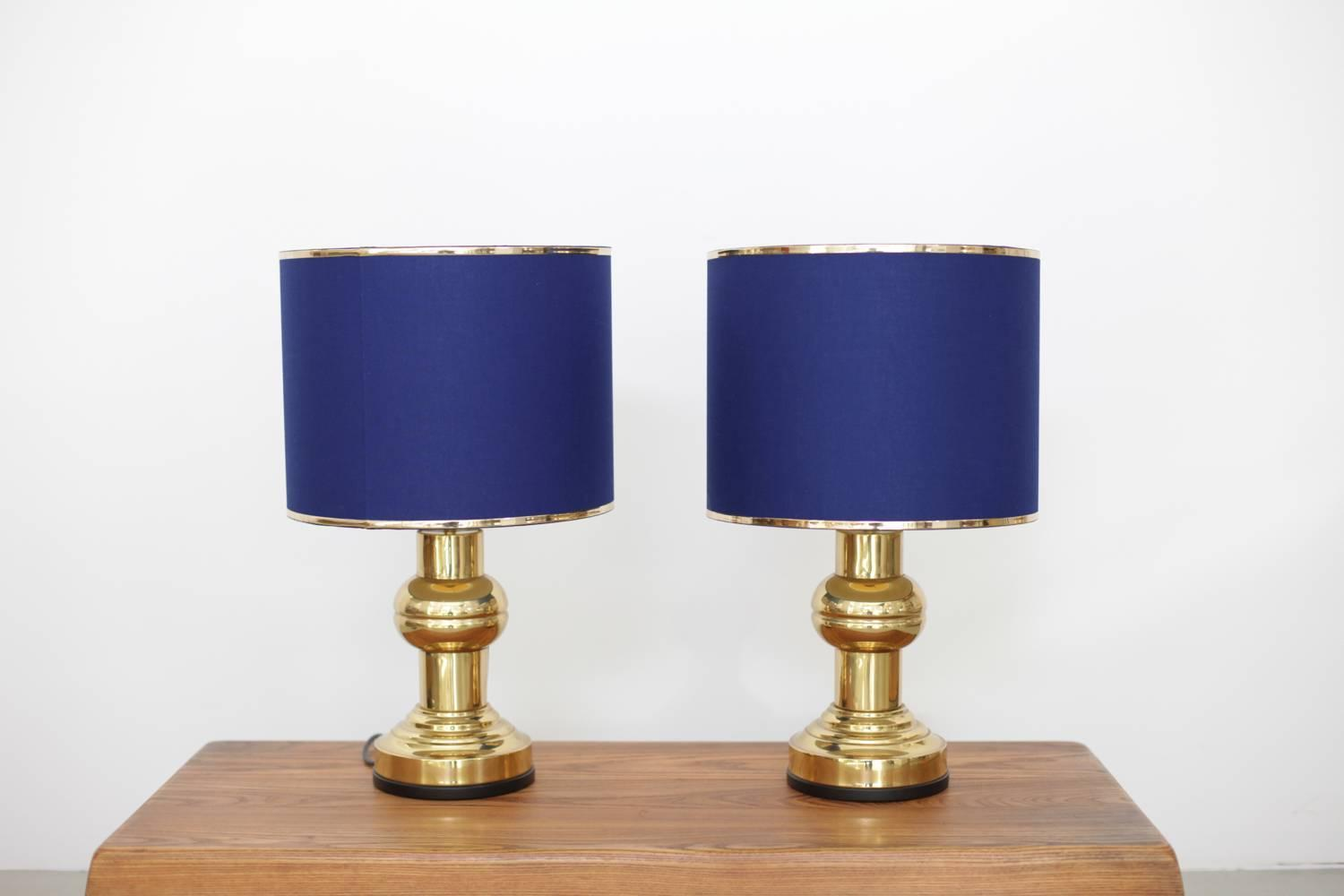 set of two art deco style table lamps in brass with dark blue shades. Black Bedroom Furniture Sets. Home Design Ideas