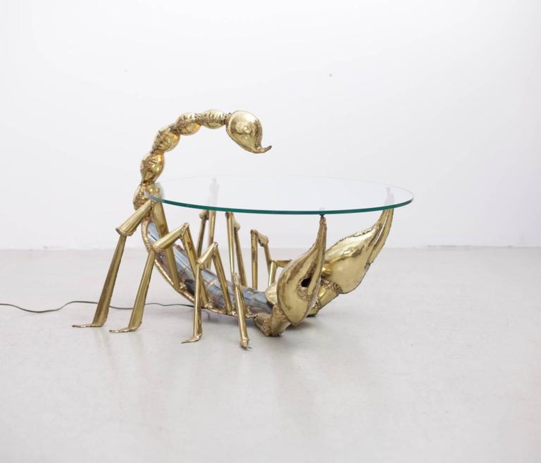 Hollywood Regency Rare Illuminated Brass Scorpion Coffee Table By Jacques Duval Brasseur For