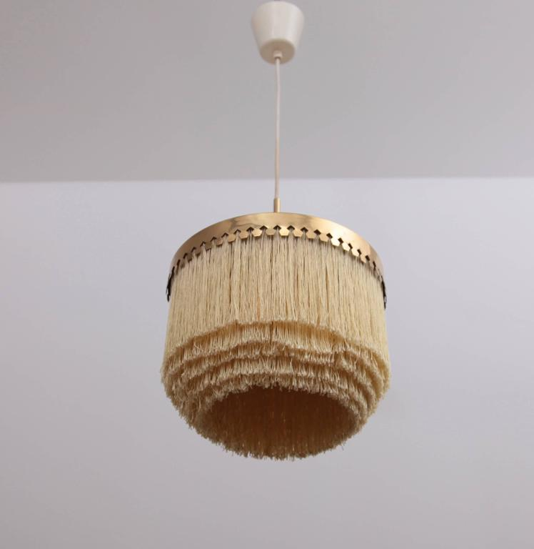 Mid-Century Modern Fringed Silk Pendant Light by Hans-Agne Jakobsson Made in Sweden, 1960s For Sale