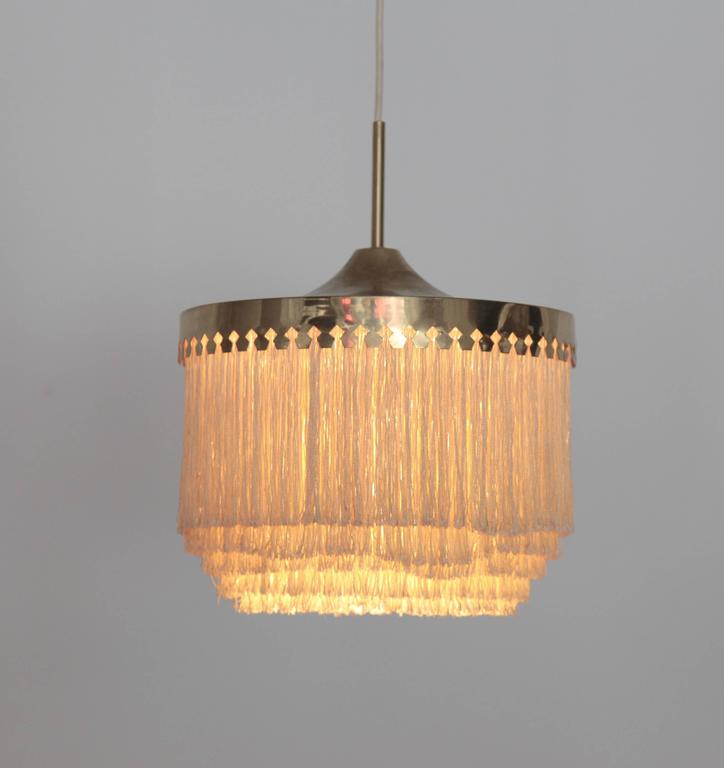 Brass Fringed Silk Pendant Light by Hans-Agne Jakobsson Made in Sweden, 1960s For Sale