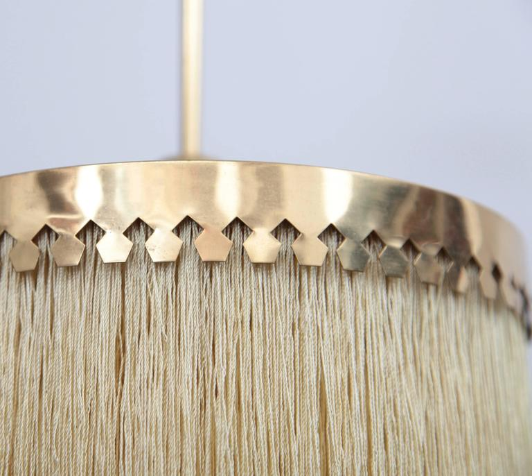 Mid-20th Century Fringed Silk Pendant Light by Hans-Agne Jakobsson Made in Sweden, 1960s For Sale